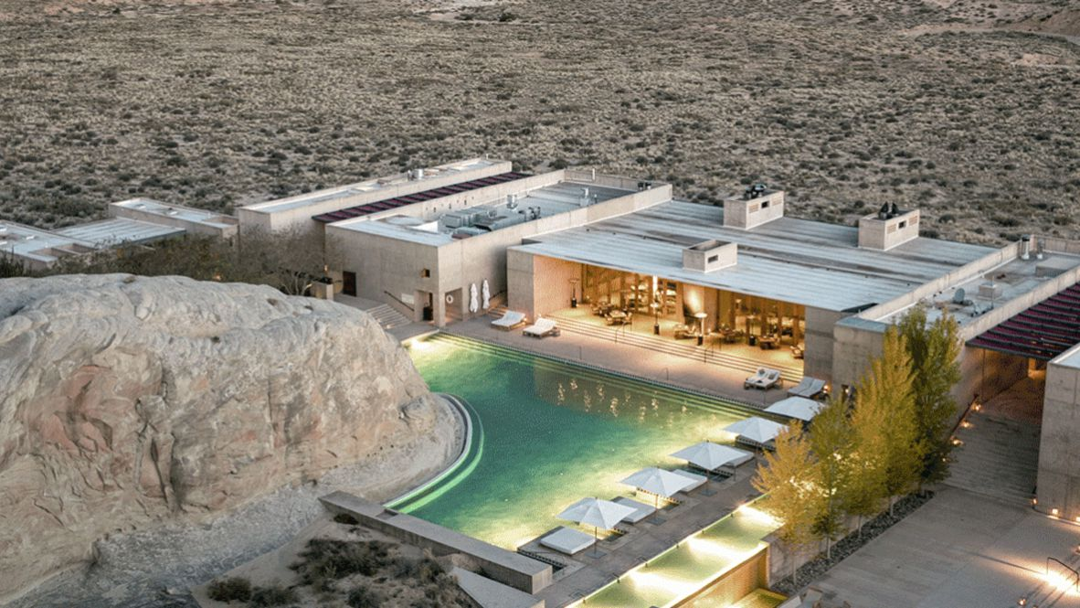 hotels in heaven amangiri utah location accommodation pool new pool lights stone deckchair parasol tree location luxury hotel beautiful picture