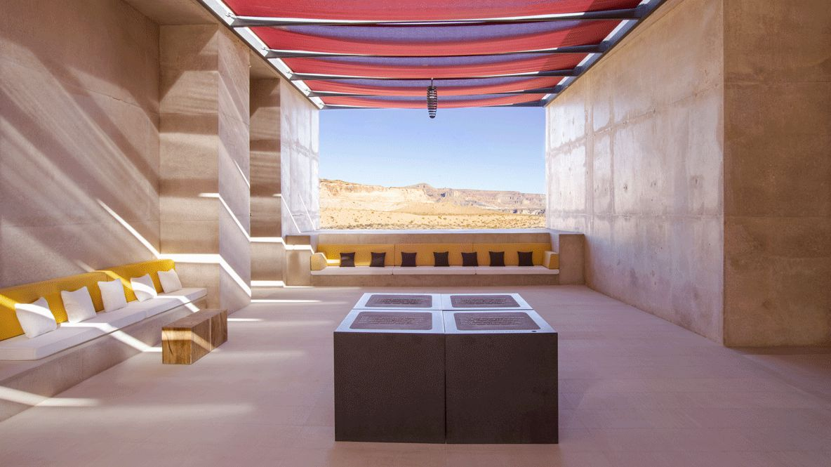 hotels in heaven amangiri utah lounge view amazing pillow view hill sky wood seat possibility lamp stone rock luxury