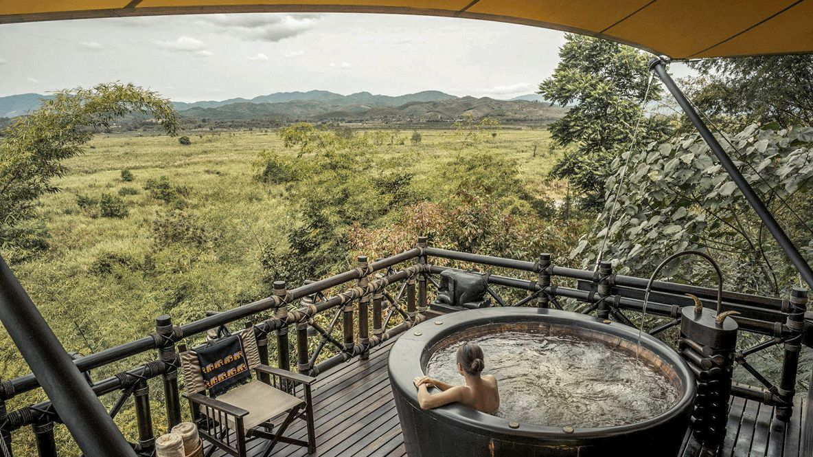 jacuzzi-four seasons tented camp golden triangle thailand