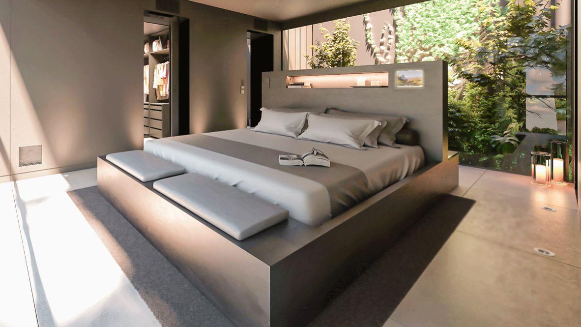 hotels in heaven guadalest vivood bedroom bed pillow luxury comfort blanket book candle nature glass wall walk in closet