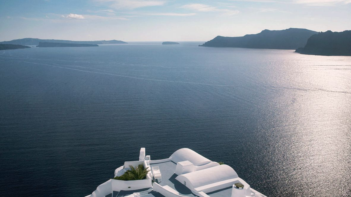 hotels in heaven katikies greece view ocean location sun plants luxury nature sea island