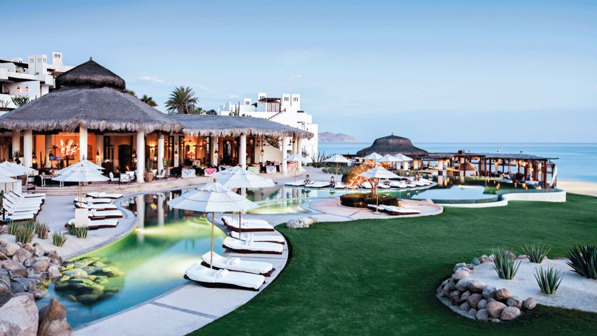 hotels in heaven las ventanas al paraiso accommodation new luxury hotel deckchair outside location sea view plants nature meadow stone sunshades table chair palm tree cozy lights river