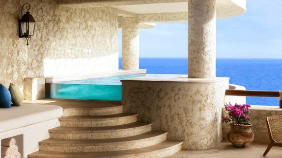 hotels in heaven las ventanas al paraiso prvate pool ocean view luxury pillow towel sea flower stairs noble beautiful lamp colorful chair