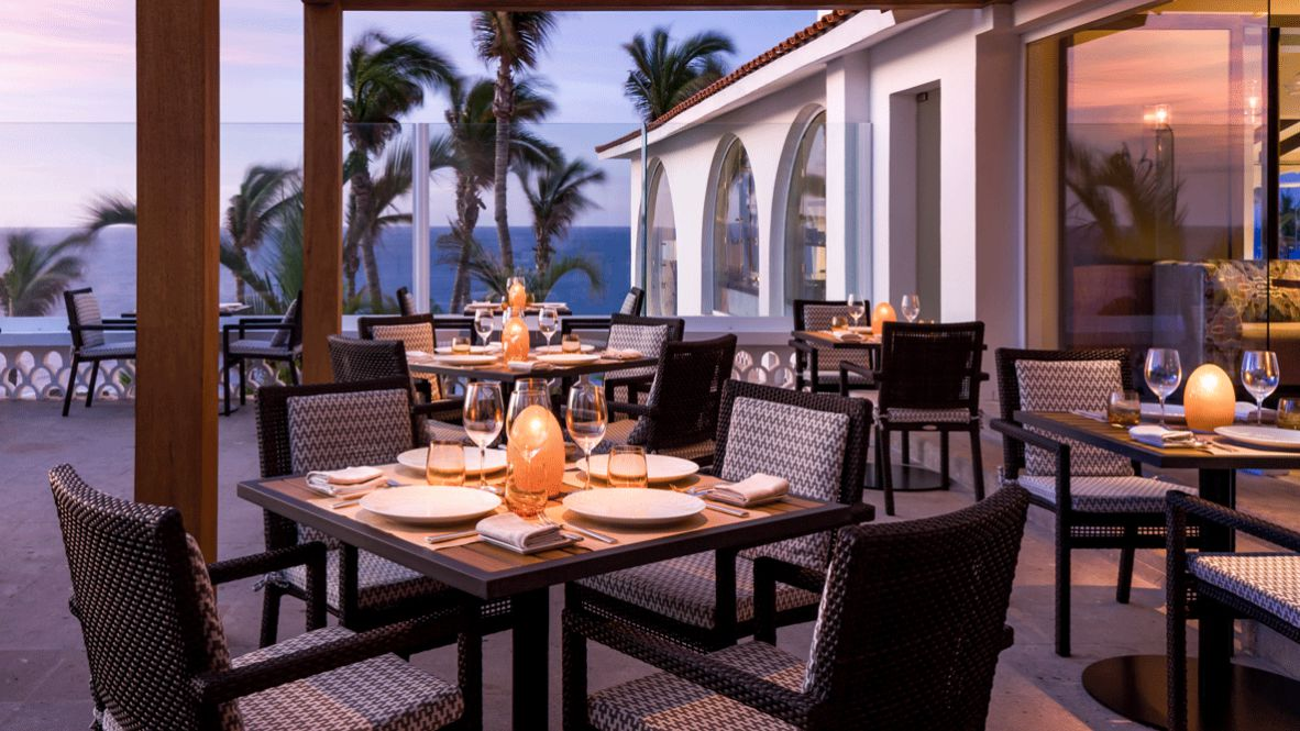 hotels in heaven one and only palmilla culinary palm trees dishes restaurant vase bottle luxury hotel outside sea view terrace