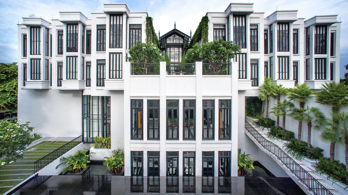 hotels in heaven the siam accommodation location fassade beautiful white stair window building terrace palm tree plants