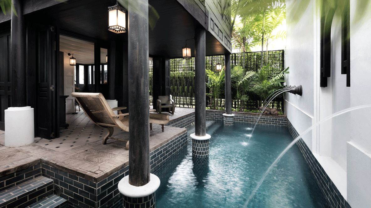 hotels in heaven the siam private pool outdoor lodge deckchair water plants seats lamp noble figure frog