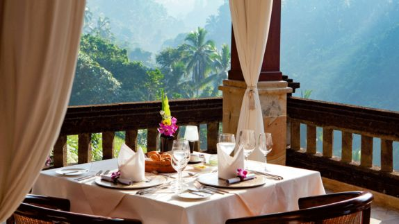 hotels in heaven viceroy bali breakfast view rain forest nature culinary bread table wine glass flower plant palm trees