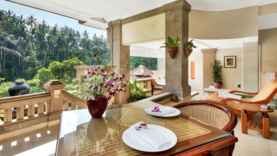 hotels in heaven viceroy bali culinary suite private pool dishes outside palm trees chair table flower nature vase ashtray