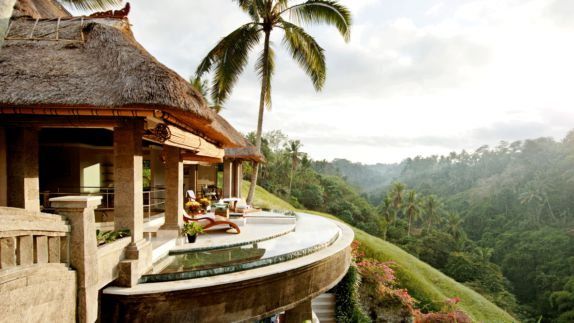 hotels in heaven viceroy bali location accommodation rain forest luxury hotel palm tree view infinity pool plants flower outside house deckchair