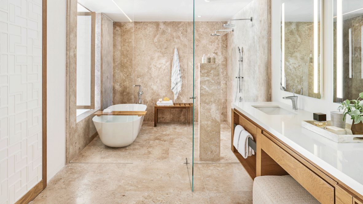 hotels in heaven viceroy los cabos batchroom suite exclusive bath tub shower towel luxury perfume shower gel marble