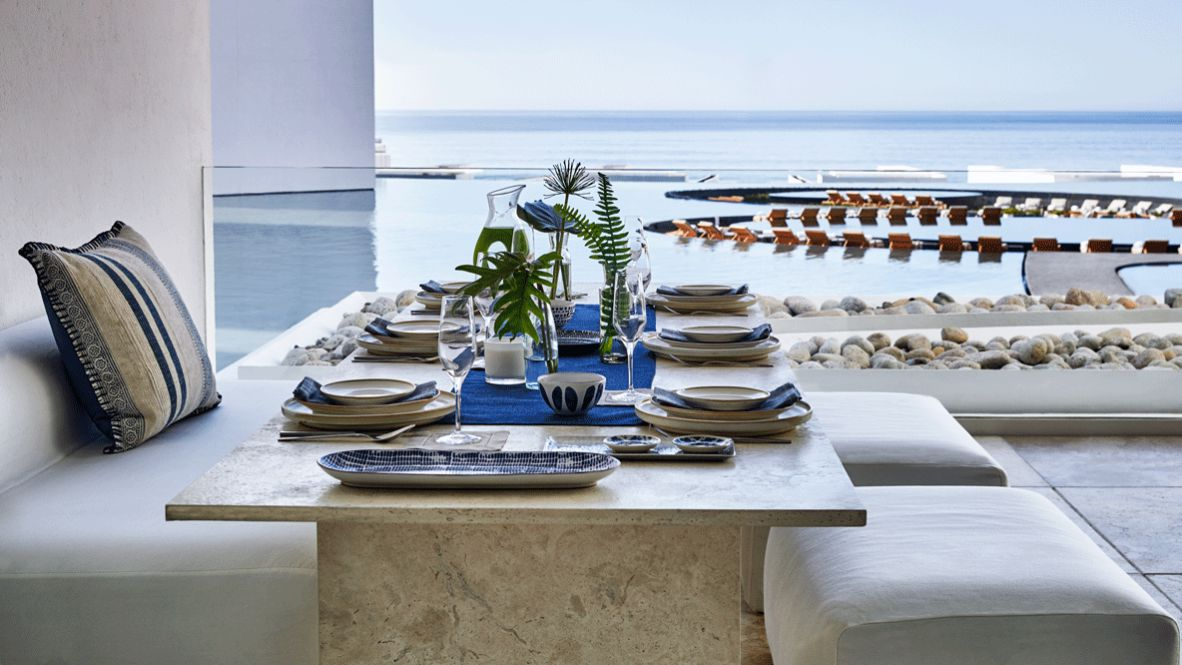 hotels in heaven viceroy los cabos culinary dining pool plants table seat luxury plant stone sky view pool ocean
