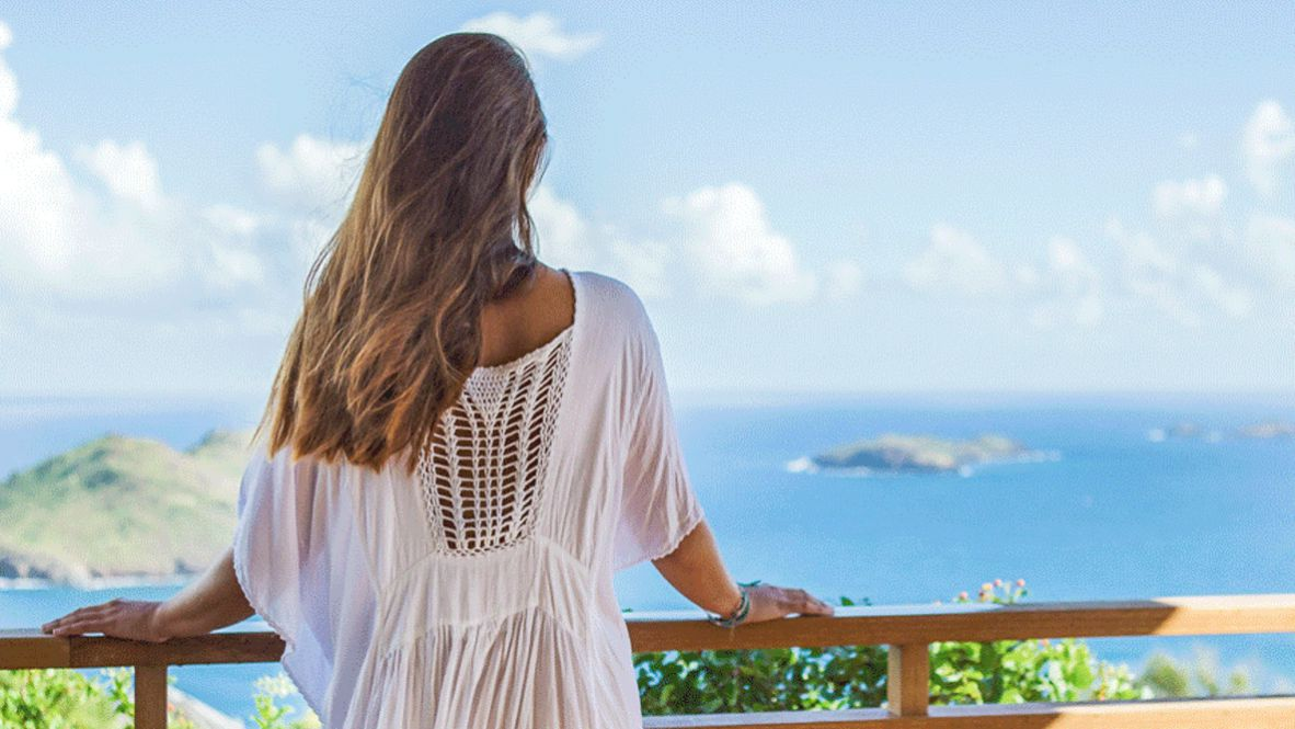 hotels in heaven villa marie saint barth view ocean woman mini island sky cloud dress long hair location blue beautiful