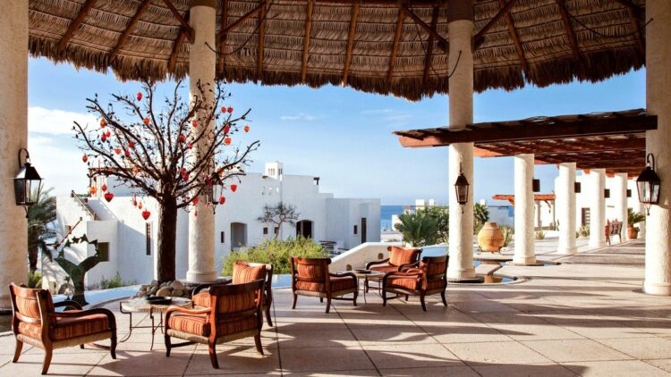 hotels in heaven las ventanas al paraiso culinary dining restaurant outdoor tree decoration lamp sea view sunny house luxury hotel antiquity stairs beautiful cozy stone pillow