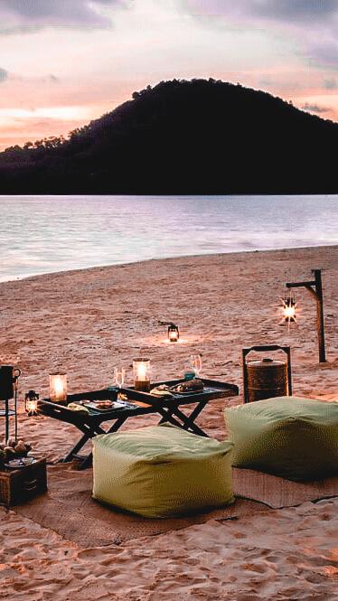 romantic dinner beach-six senses yoa noi thailand
