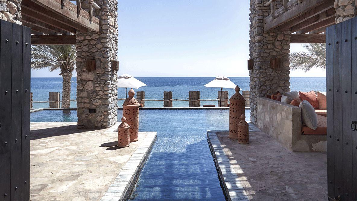 view outdoor pool-six senses zighy bay oman