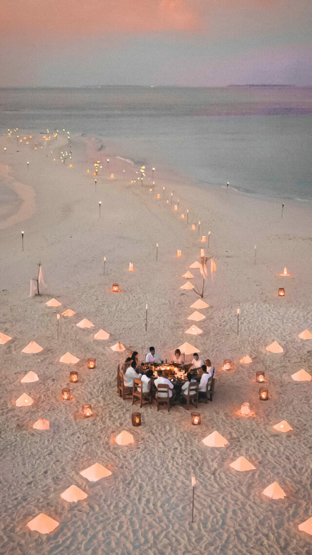 romantic dinner at the beach-soneva fushi maldives