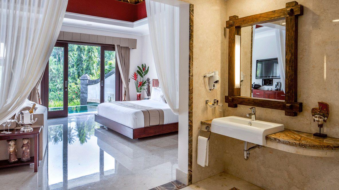 hotels in heaven viceroy bali accommodation bedroom bed sink mirror hairdryer plants glass bottle sparkling wine infinity pool tv