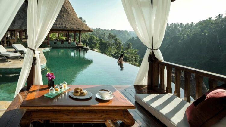 hotels in heaven viceroy bali breakfast pool view infinity pool jungle nature food flower breakfast woman girl green