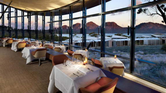 hotels in heaven saffire freycinet culinary restaurant dining restaurants tables tablecloth mountains wine glasses armchairs