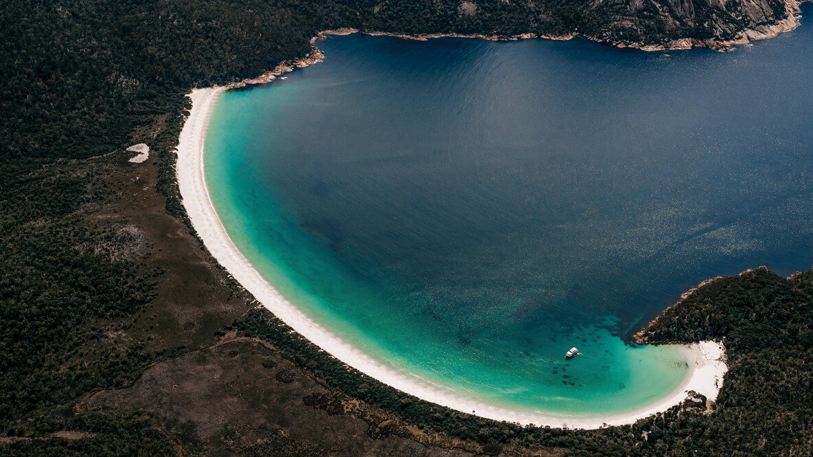 hotels in heaven saffire freycinet location beach trees sand beachside ocean water deep blue sea boat waves