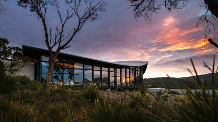 hotels in heaven saffire freycinet accommodation location view sunset beautiful sky cloudy colorful trees glass windows mirror