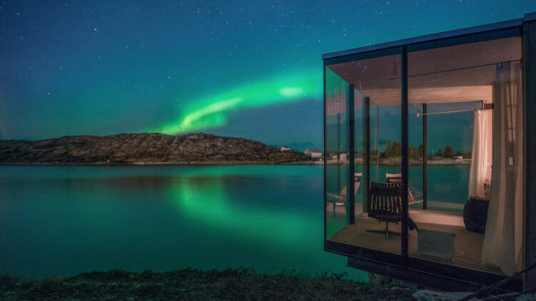 bedroom view northern lights-manshausen island resort norway