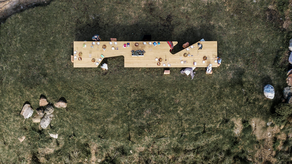 hotels in heaven sacromonto dining table culinary special drone flight view shot nice incredible grass wooden food dinner big