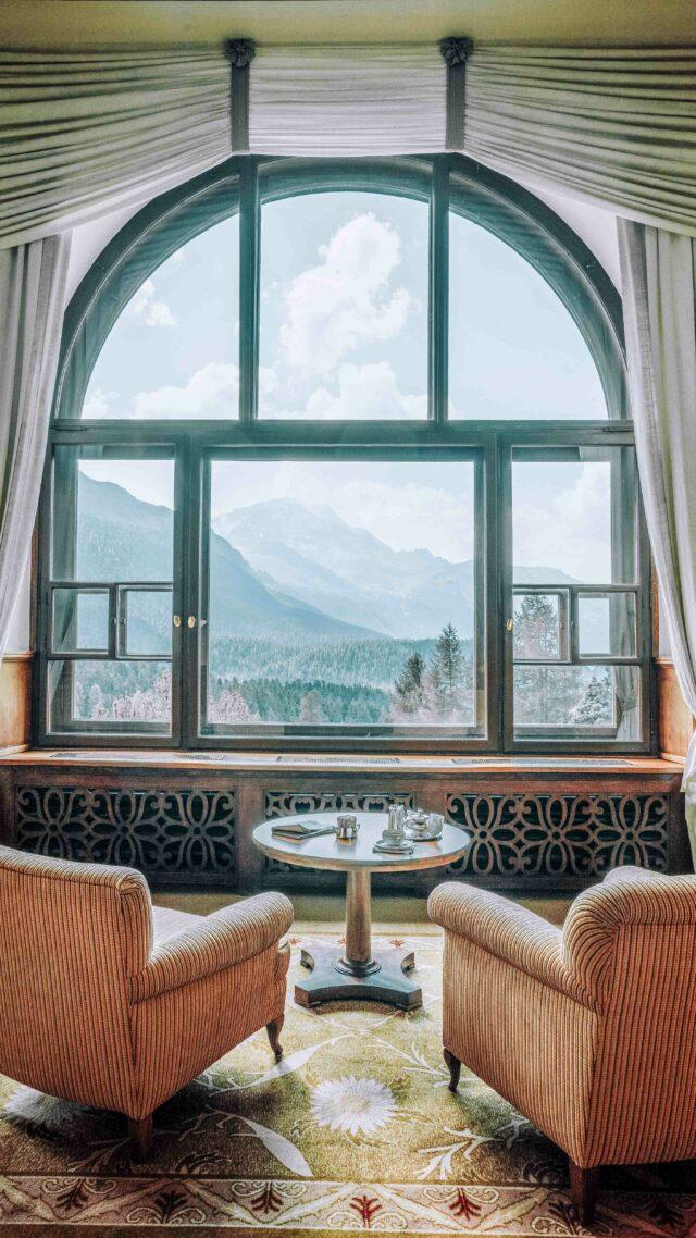 mountain view living room hotel-suvretta house switzerland