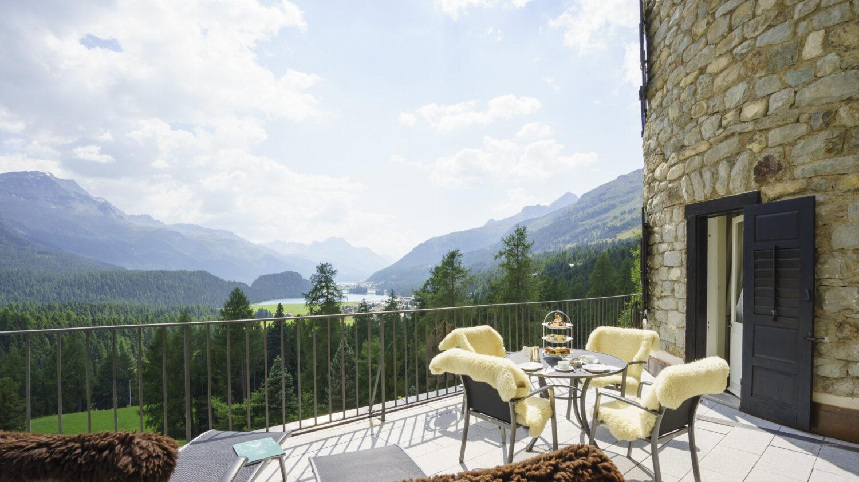 terrace view alps-suvretta house switzerland