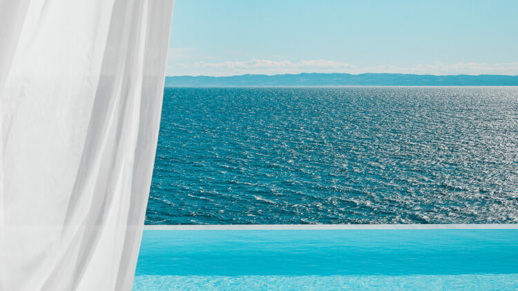 infinity pool view on ocean-the danai beach resort greece