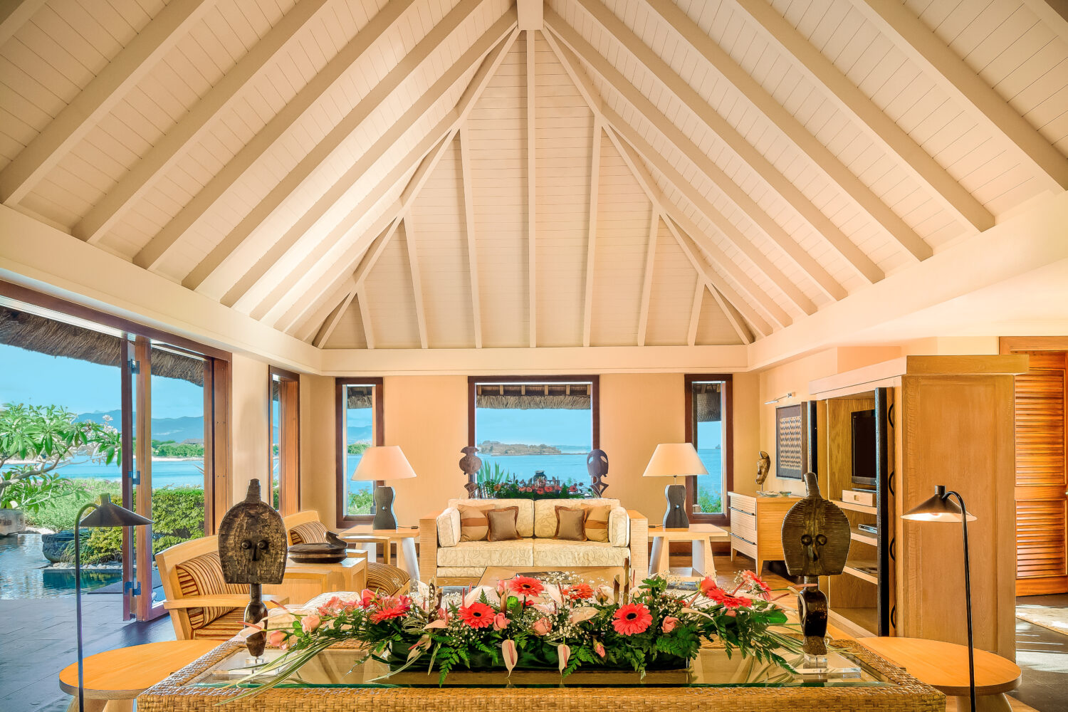 royal villa living room view-the oberoi beach resort mauritius