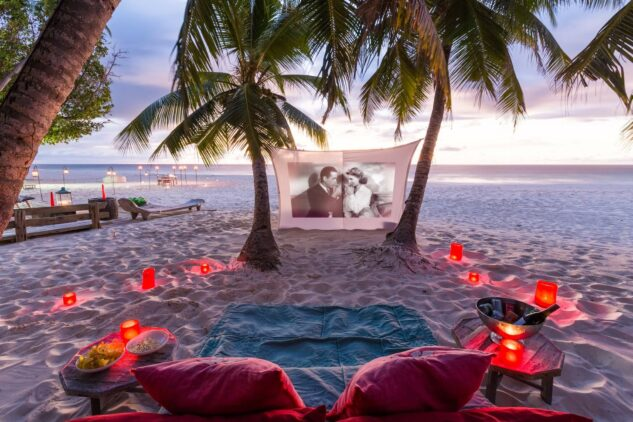 outdoor cinema beach-north island seychelles
