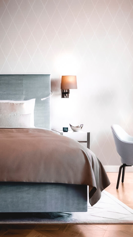 modern luxury bedroom-the fontenay hamburg