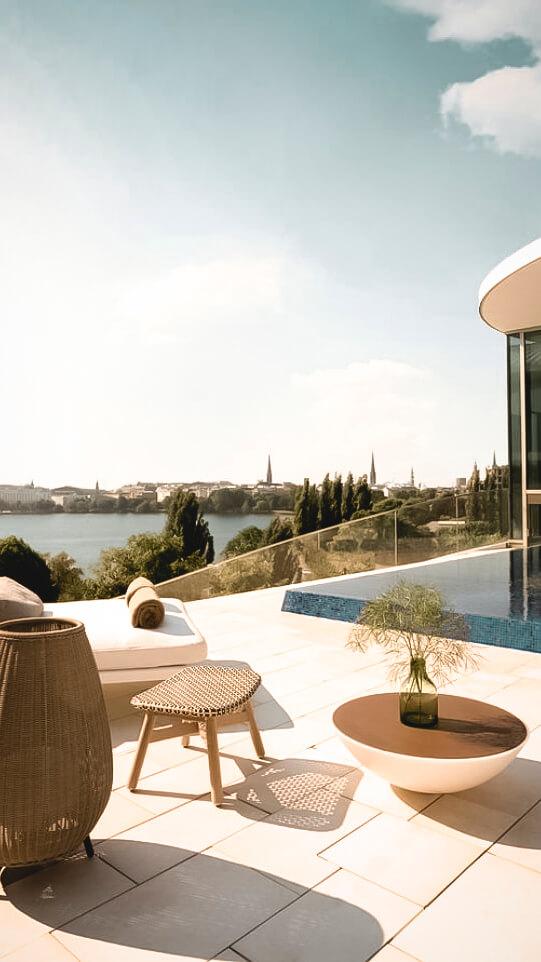 luxury rooftop pool-the fontenay hamburg germany