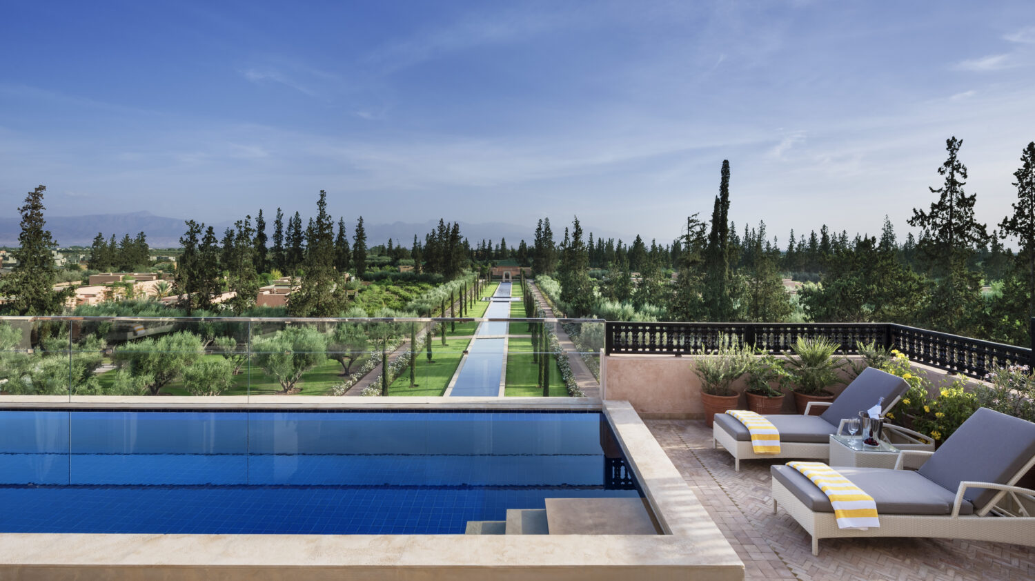 view from pool-the oberoi marrakech