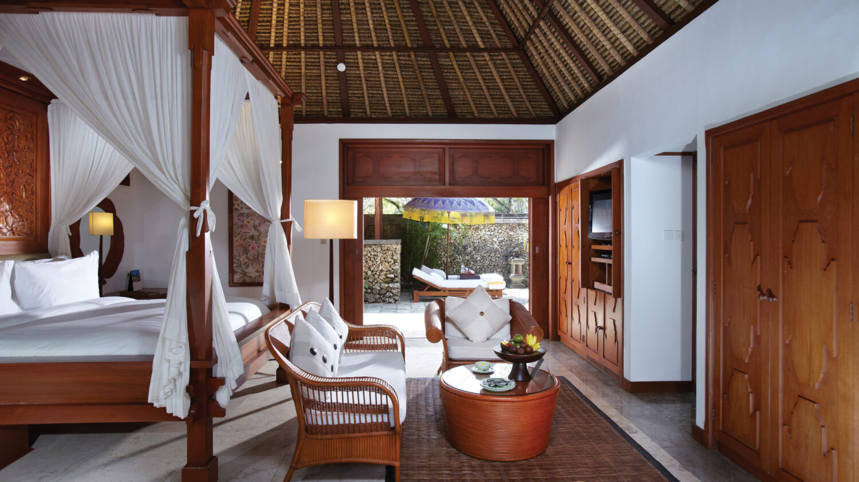 luxury villa bedroom interior-the oberoi beach resort bali