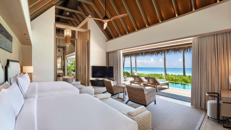 beach villa bedroom-waldorf astoria ithaafushi maldives