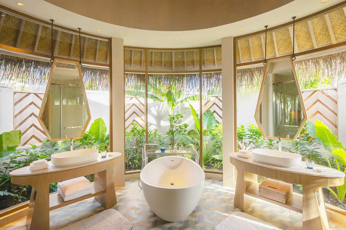 beach villa bathroom-the nautilus maldives