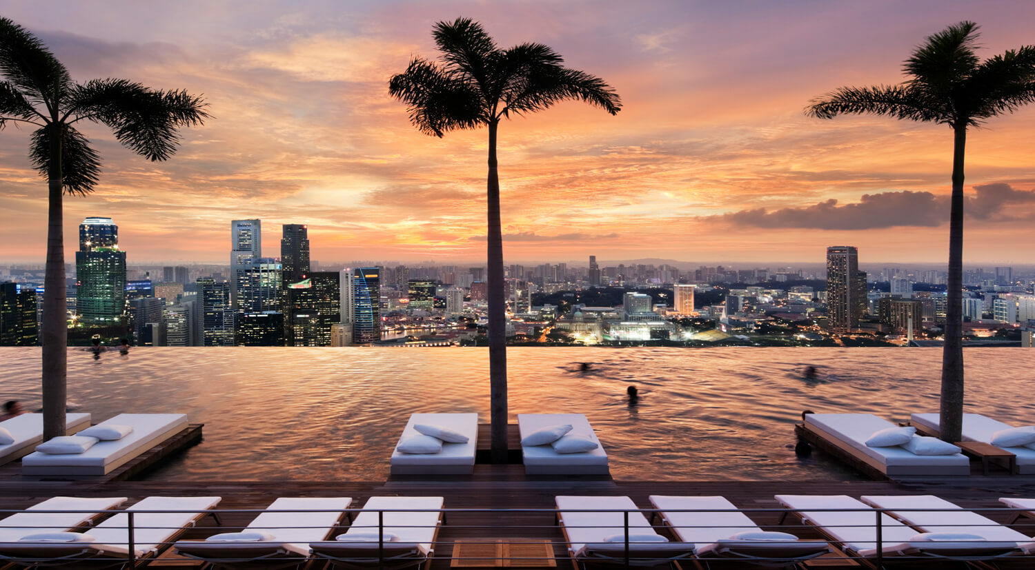 sunset pool view-marina bay sands singapore